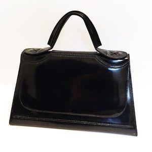 Beautiful Rare black patent leather Fendi satchel